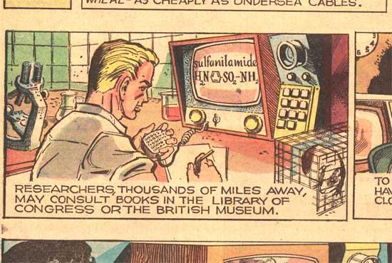 Imagen de un tebeo antiguo. Una persona usa un ordenador con elementos de interfaz que recuerdan bastante a cómo son los ordenadores hoy